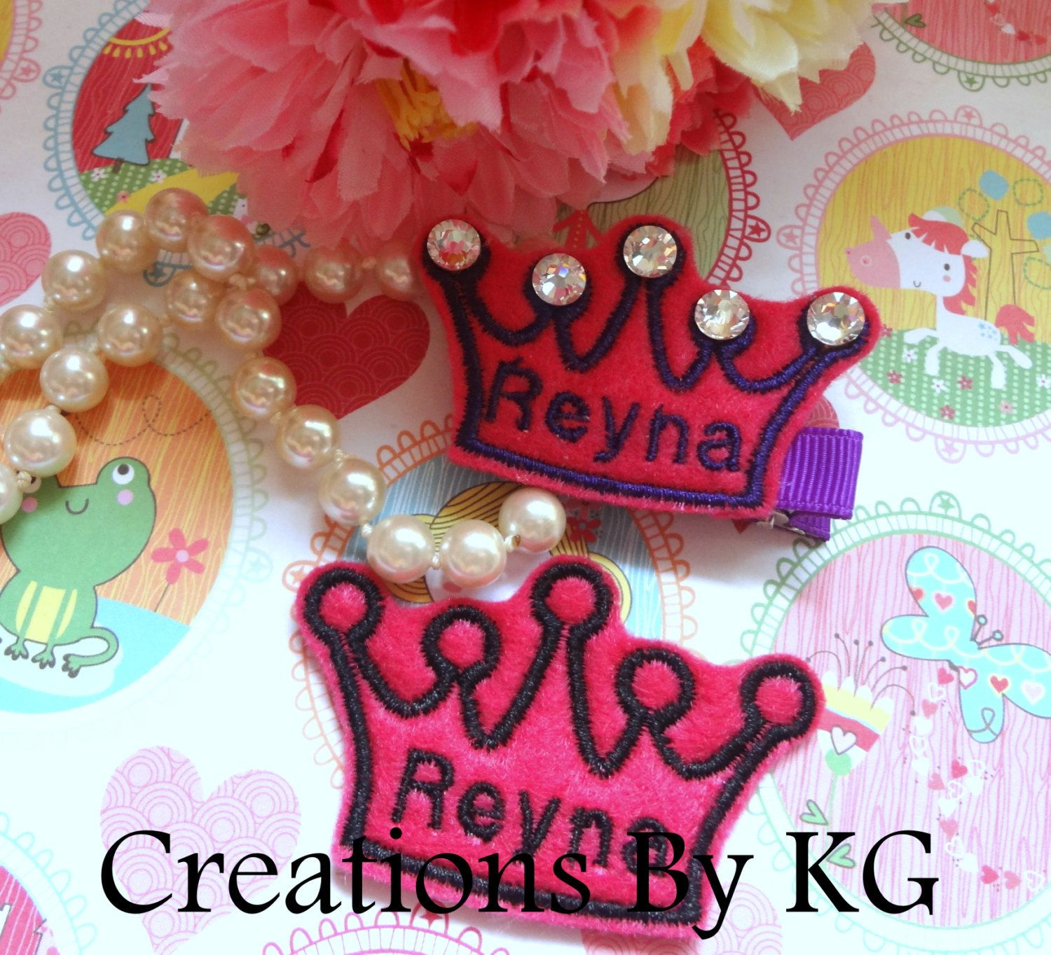 "PERSONALIZED PRINCESS CROWNS - 1 1/2"" X 2 1/2"" - Felt Embellishments/Appliques - Set Of 3 - pinned by pin4etsy.com"