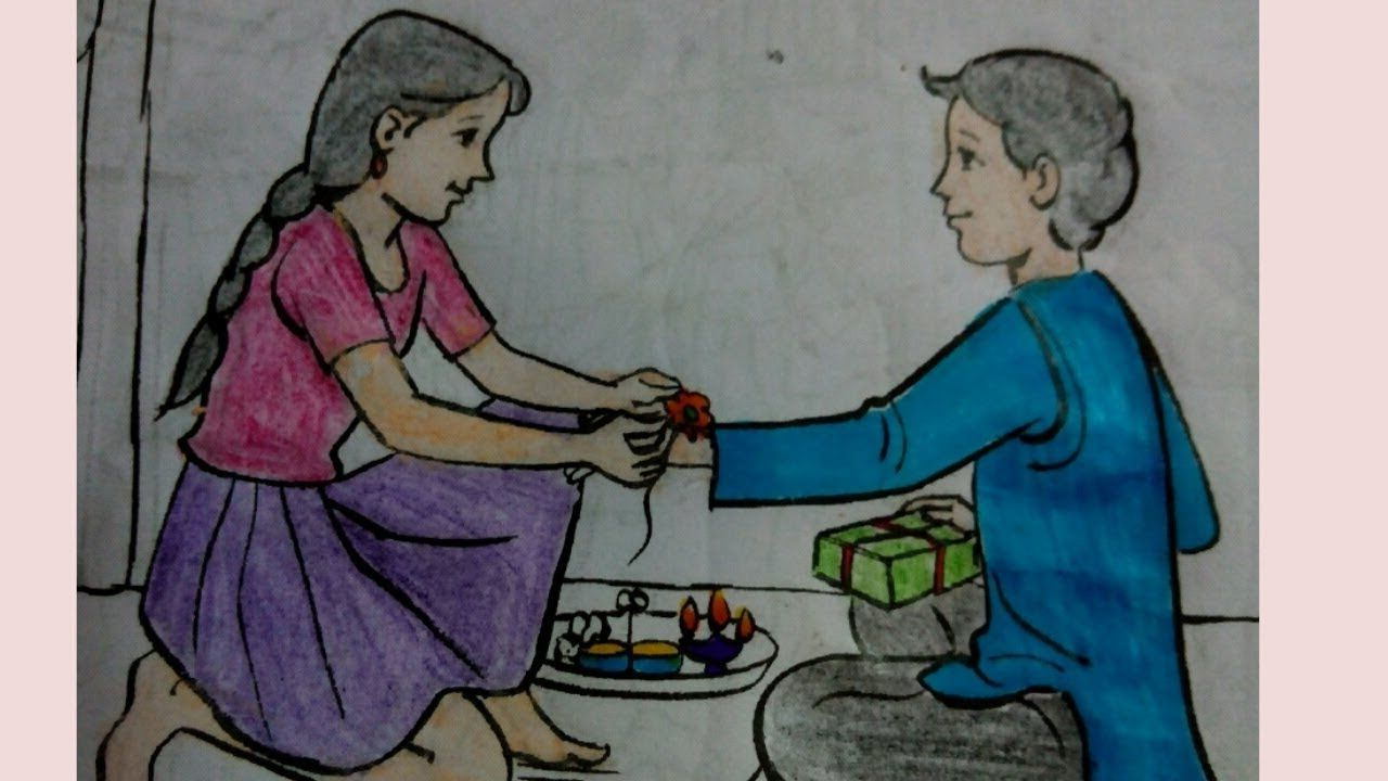 Memory drawing painting festival memory drawing of brother and sister l raksha bandhan youtube