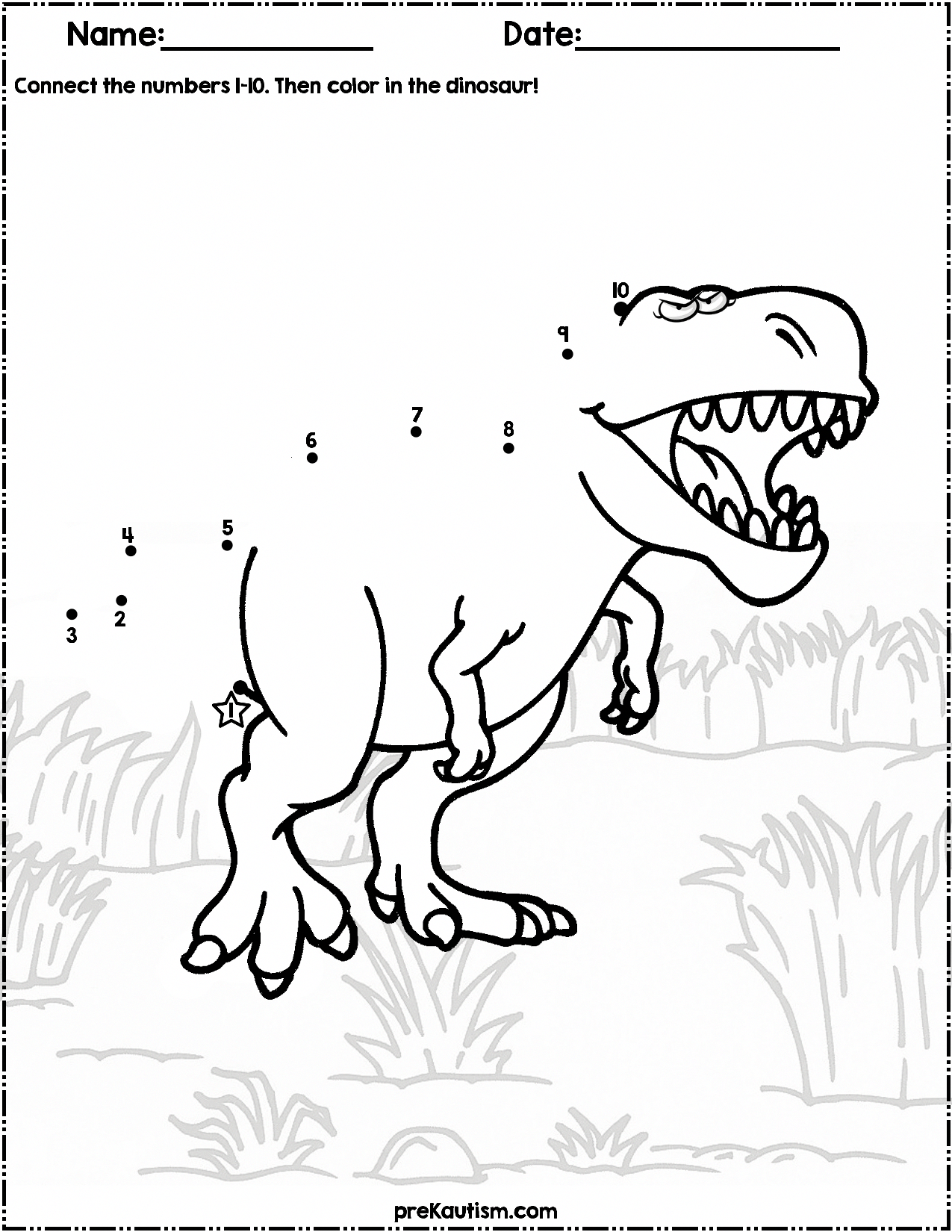 1 50 Learn How To Count 1 10 With These Dinosaur Themed Dot To Dot Activity Worksheets For Preschool Dinosaur Activities Dinosaurs Preschool Dot Worksheets [ 1650 x 1275 Pixel ]