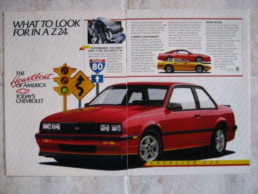 Cavalier 1982 chevrolet cavalier : 1987 Chevrolet Cavalier Z24 with Corvette & Camaro 2 page | 1987 ...