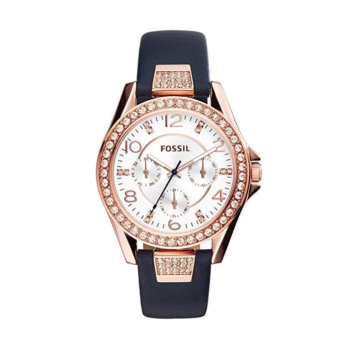 844ced727 Fossil ES3887 - Reloj de cuarzo con correa de cuero para mujer, color  plateado / azul