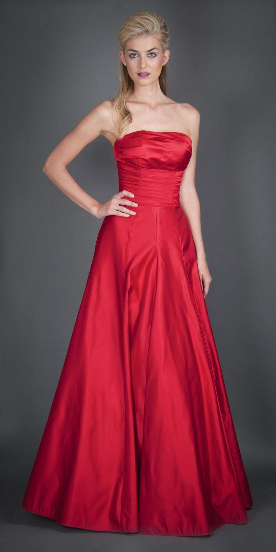 caa55adf40 Vestido raso de seda rojo carmín. Lila ®