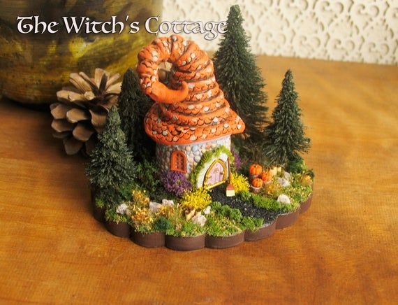 The Witch's Cottage - Miniature Round Cottage House with Witch's Hat Roof, Arched Door, Pine Trees, #witchcottage
