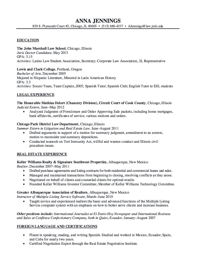 Real Estate Law Resume Sample  HttpResumesdesignComReal