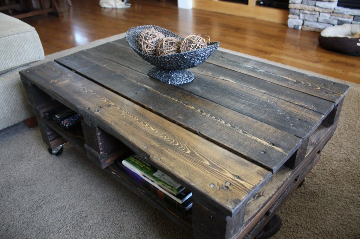 Homemade Coffee Table Ideas Looks Like Its Just Reclaimed Wood From A Pallet Thats Been Stained But It Cool