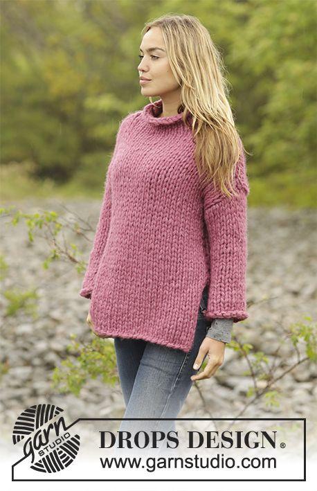 Sunset Rose   DROPS Extra 0-1356 - Stickad tröja med hög krage i 5 trådar  DROPS Air. Storlek S- XXXL 3152689e8957a