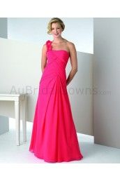 Chiffon One Shoulder Alternating Vertical Pleated Bodice Floor-Length A-line Special Occasion Dress