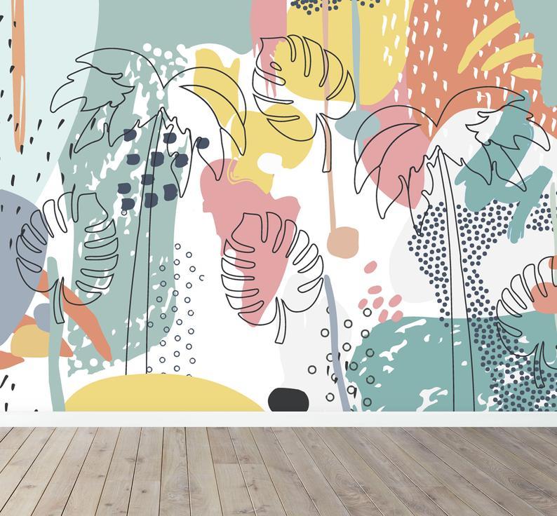 Tropical Splash Wall Mural Wallpaper | Etsy