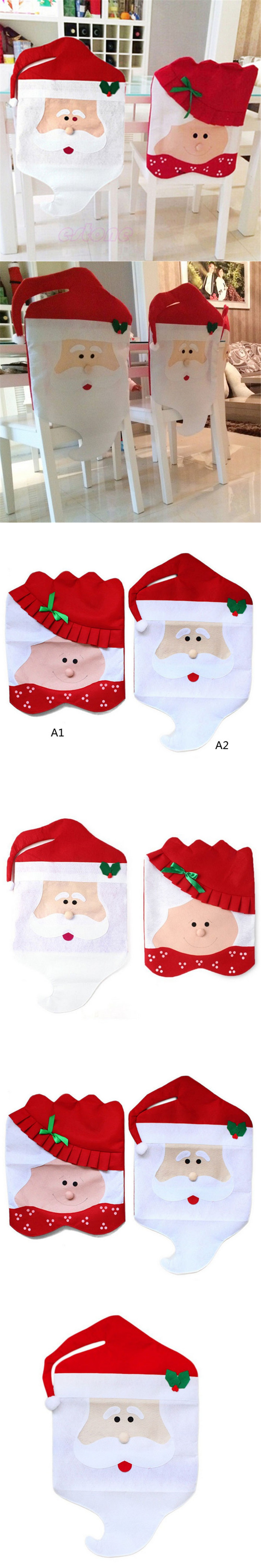1 PC Mrs Santa Claus Christmas Dinner Banquet Chair Back Cover