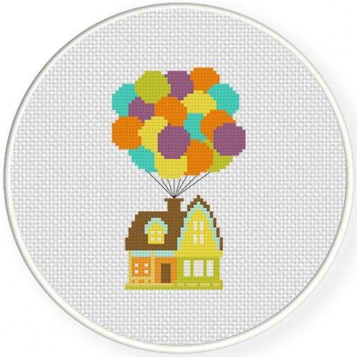 Photo of Ballon Haus, handgemachte ungerahmt Cross Stitch-New Home Geschenk, Inneneinrichtungen, Kinderzimmer Dekor, Kinderzimmer Wandkunst, minimalistisch