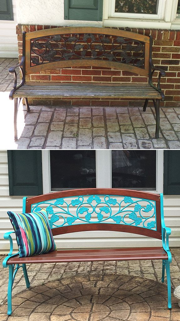 Old Garden Bench Repainted Before After Painted Benches