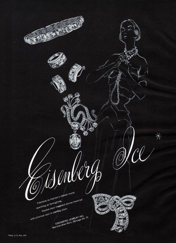 Eisenberg Ice Costume Fashion Jewelry SPRINGTIME SPARKLING Brooch 1948 Print Ad #Eisenberg