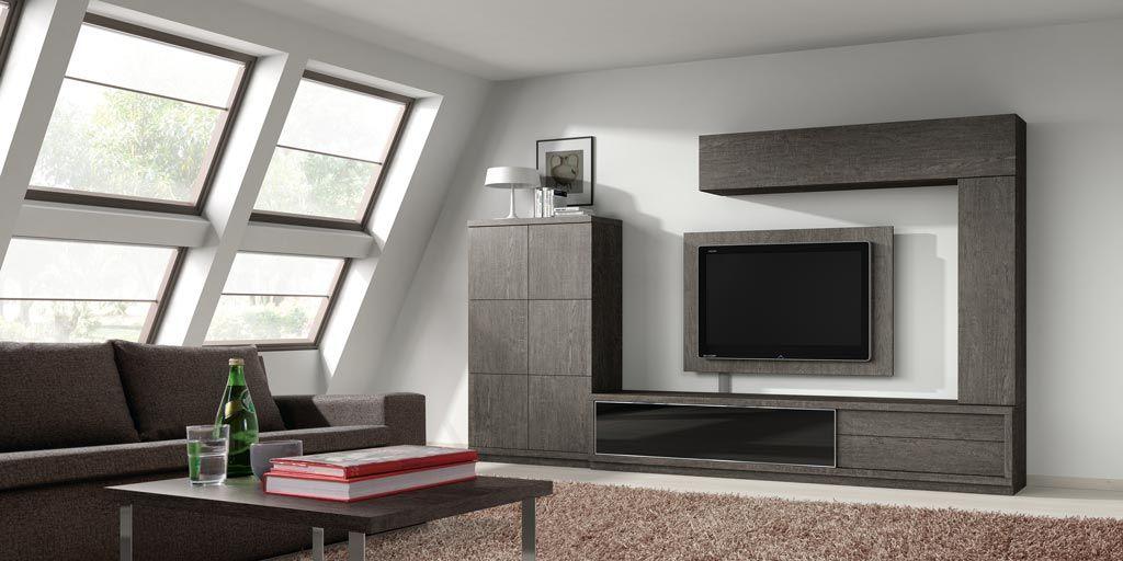 Ambiente de sal n con una composici n de muebles modulares for Salones por modulos