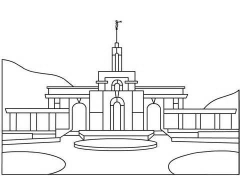 Printable Salt Lake City Lds Temple Coloring Page Pdf Digital