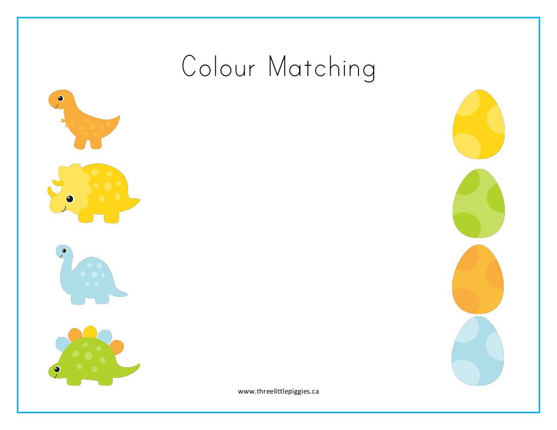Colour Matching Dinosaur Freebie