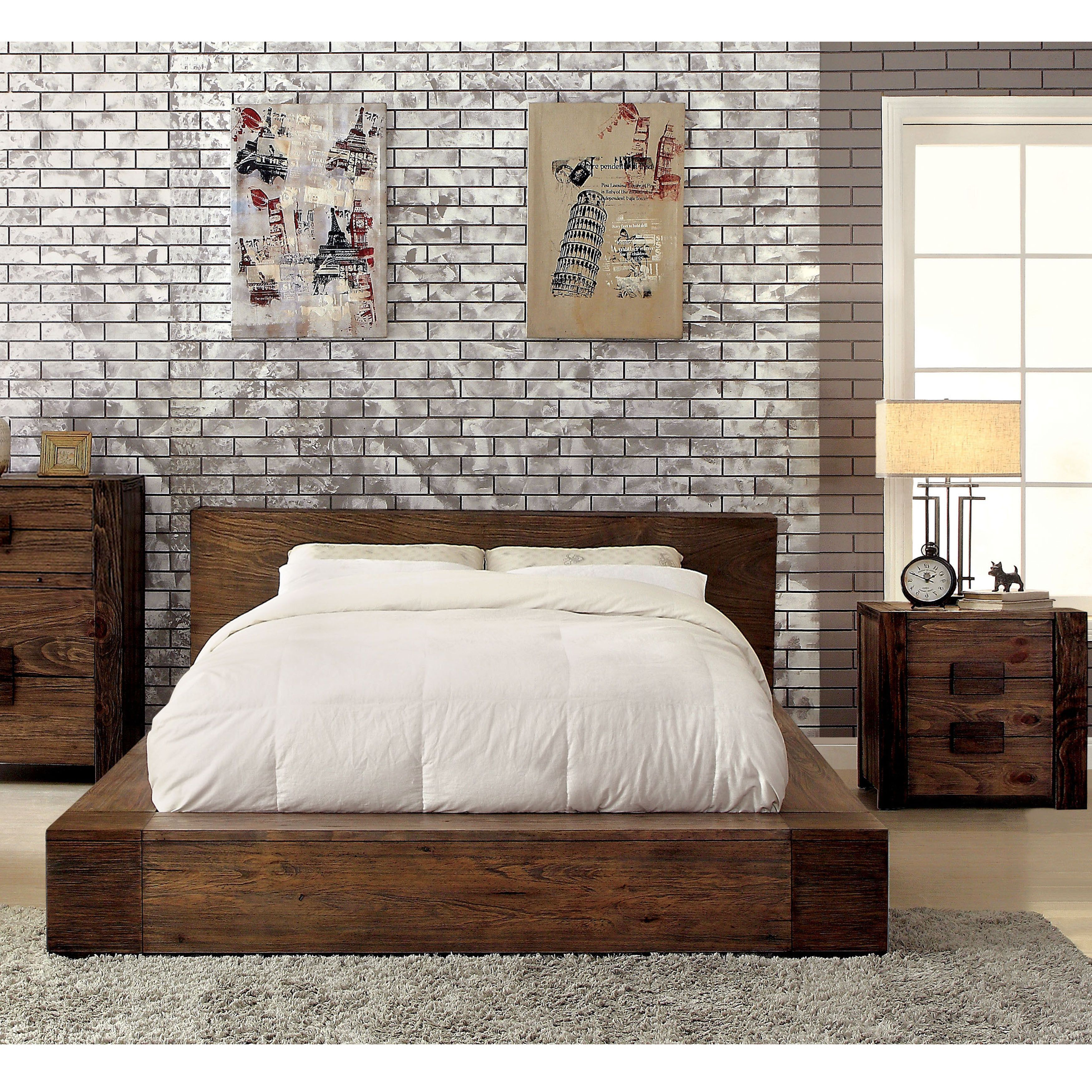 Furniture Of America Shaylen I Rustic 2 Piece Natural Tone Low Profile Bed And Nightstand Set Furniture Bed Design Upholstered Platform Bed
