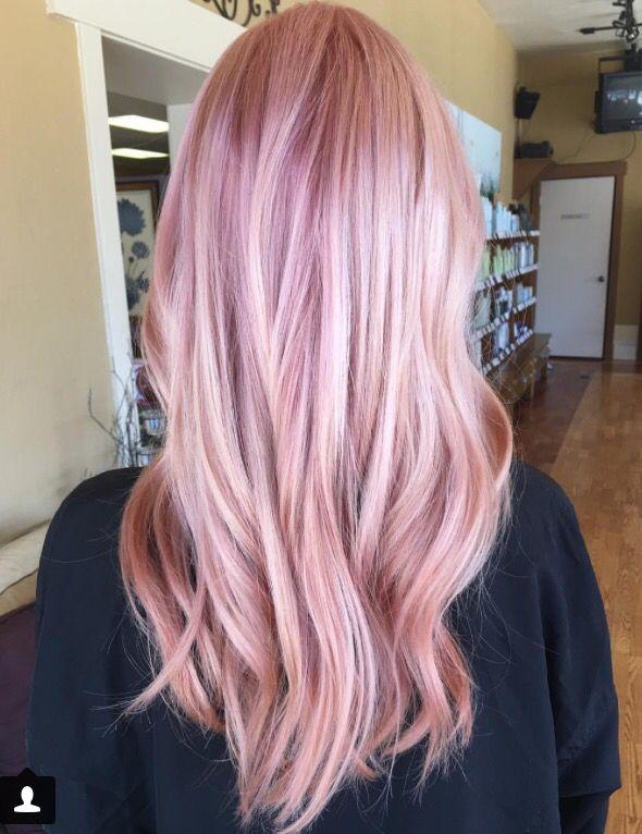 Pink Rose Highlights Long Blonde Hair Hair Pinterest Pink