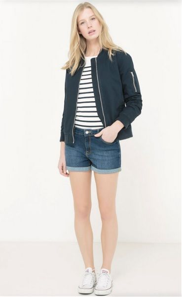 White and navy striped tee+denim shorts+white sneakers+navy bomber jacket. Spring Casual Outfit 2017