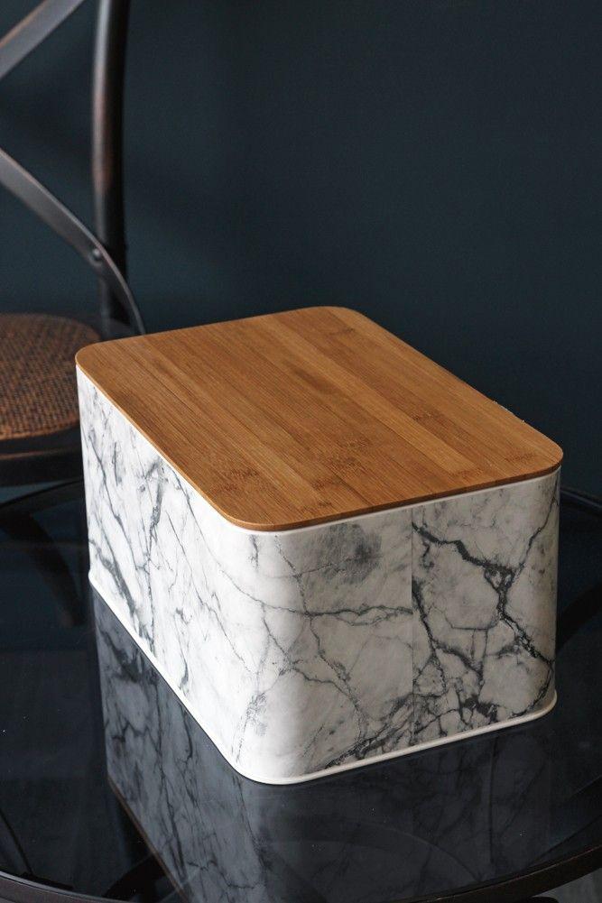 Marble Print Bread Bin With Wooden Lid Kitchen Storage