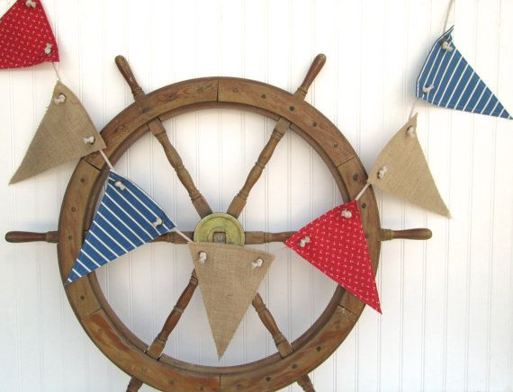 Photo of nautical decor, nautical banner, nautical nursery decor, pirate party, nautical baby shower party decor, red white blue banner, LAST ONE