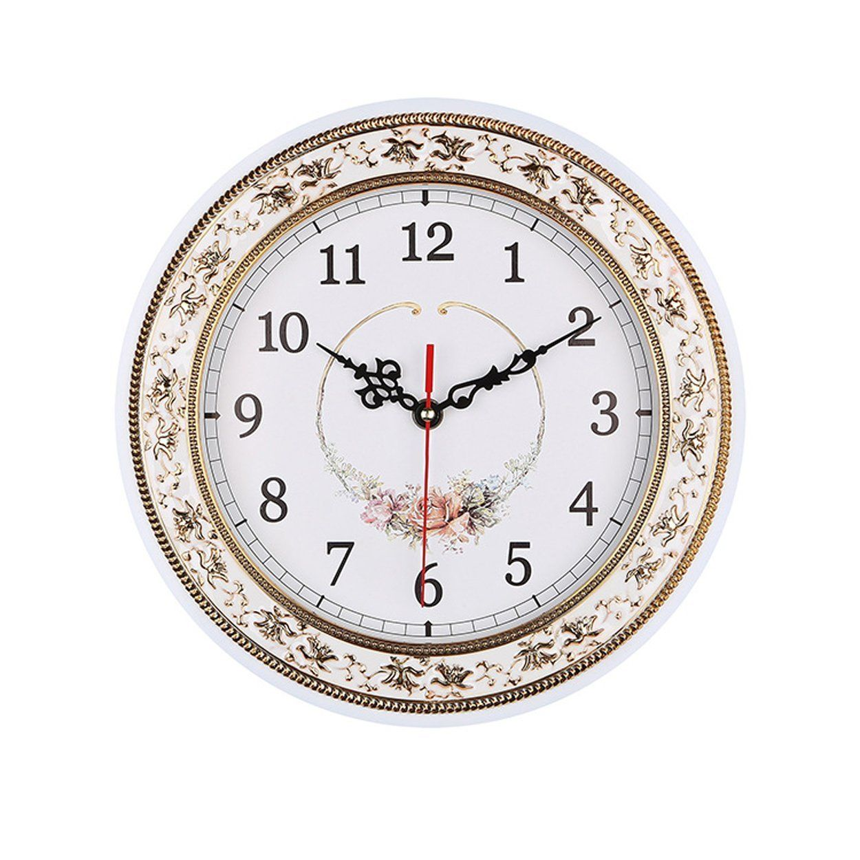 Foxtop 11 Inch Resin Floral Wall Clocks For Living Room Kitchen Home Decoration Vintage Style Clocks Want A Wall Clock Floral Wall Clocks Clock Wall Decor