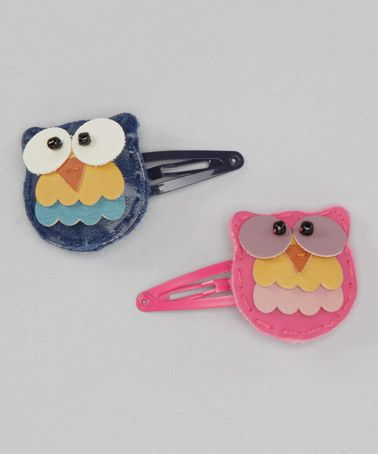Take a look at this Pink & Navy Tree Owl Snap Clip Set by Lily & Momo.