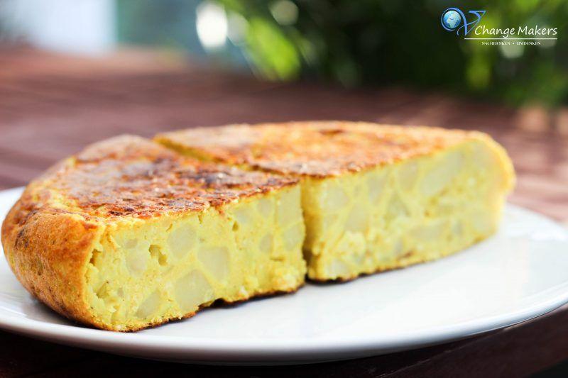 Rezept: Spanische vegane Tortilla - wenige Zutaten - kalorienarm - günstig