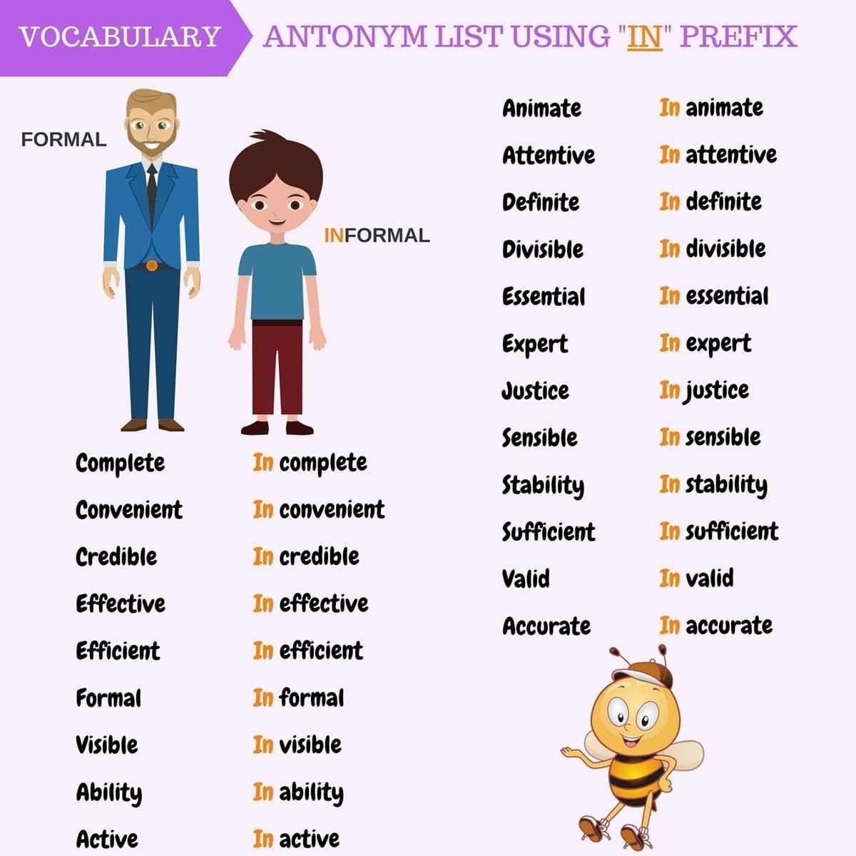 Antonym List Using In Prefix