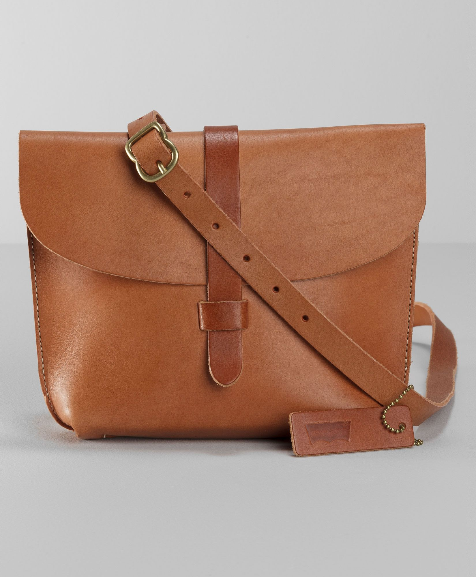 5c6cbf8849cf6 Levi s Crafted Leather Saddle Bag - Camel - Bags   Wallets ...