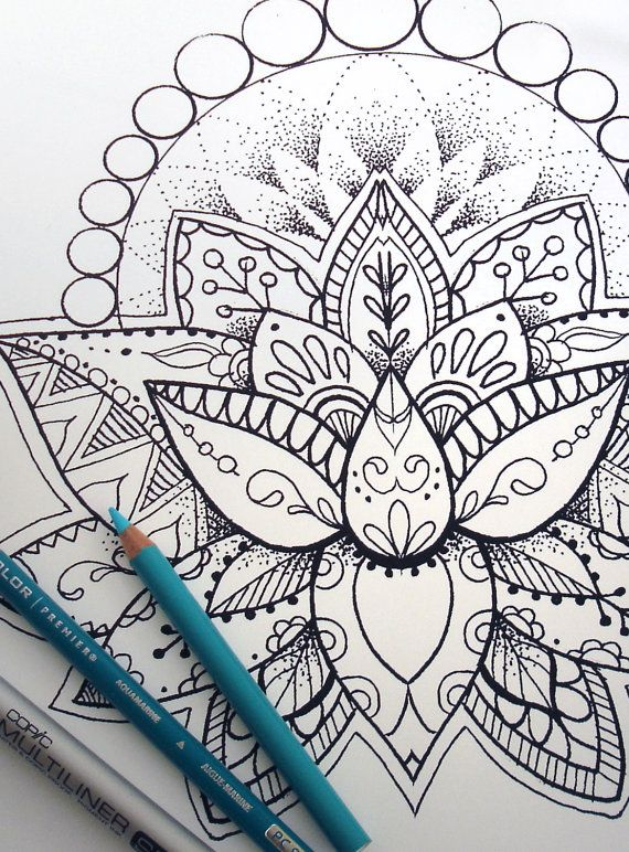 Lotus Flower Coloring Page Instant Download Print Your Own Etsy Mandala Coloring Pages Designs Coloring Books Flower Coloring Pages