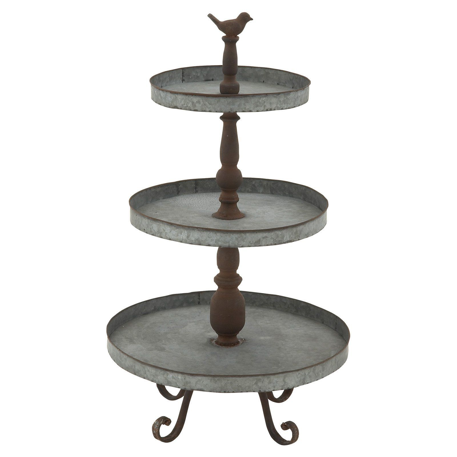 Decmode 3 tiered metal tray stand with bird 54347 with