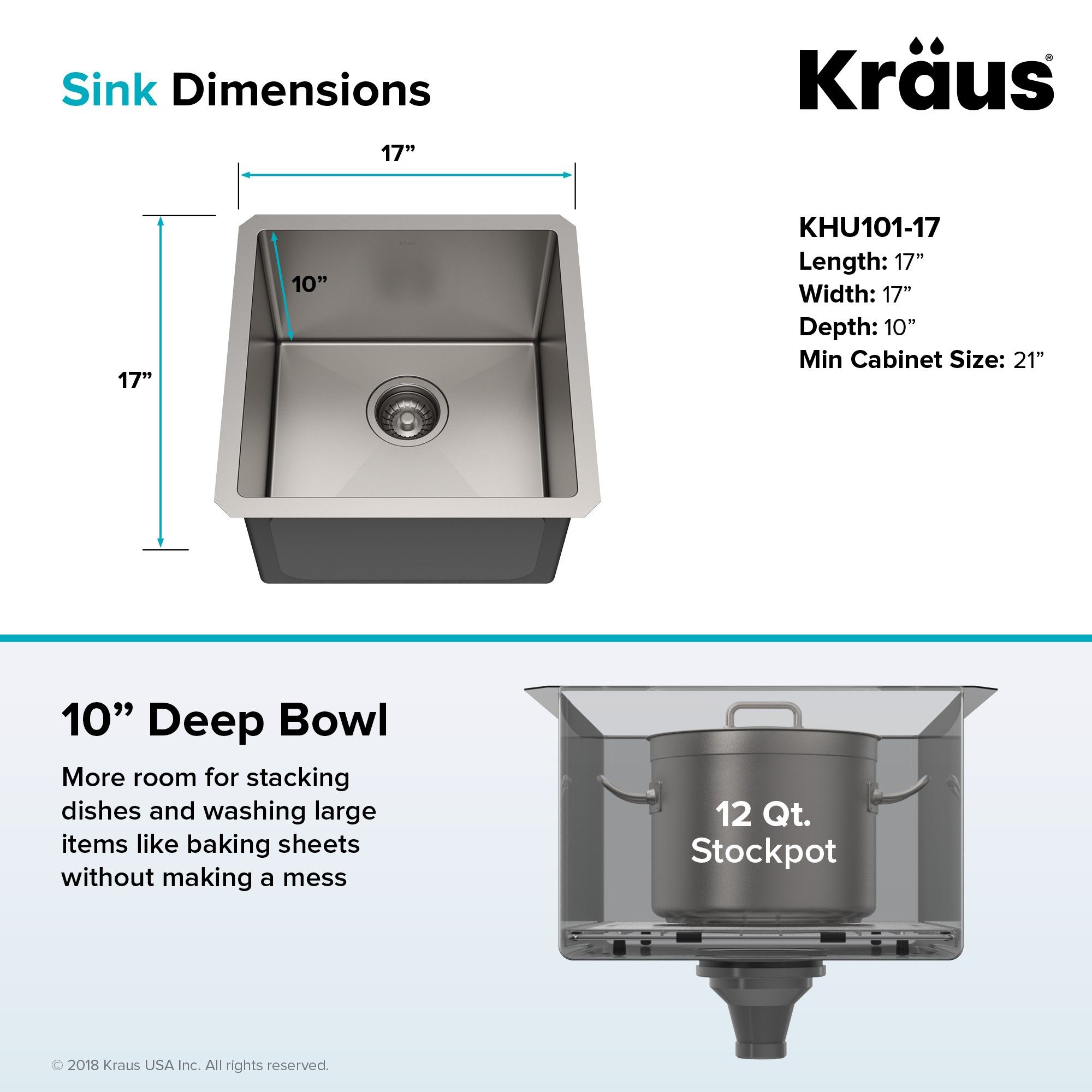 Kraus Standart Pro 17 Inch 16 Gauge Undermount Single Bowl Stainless Steel Kitchen Bar Sink Kraususa Kraus Stainless Steel Kitchen Single Bowl Kitchen Sink
