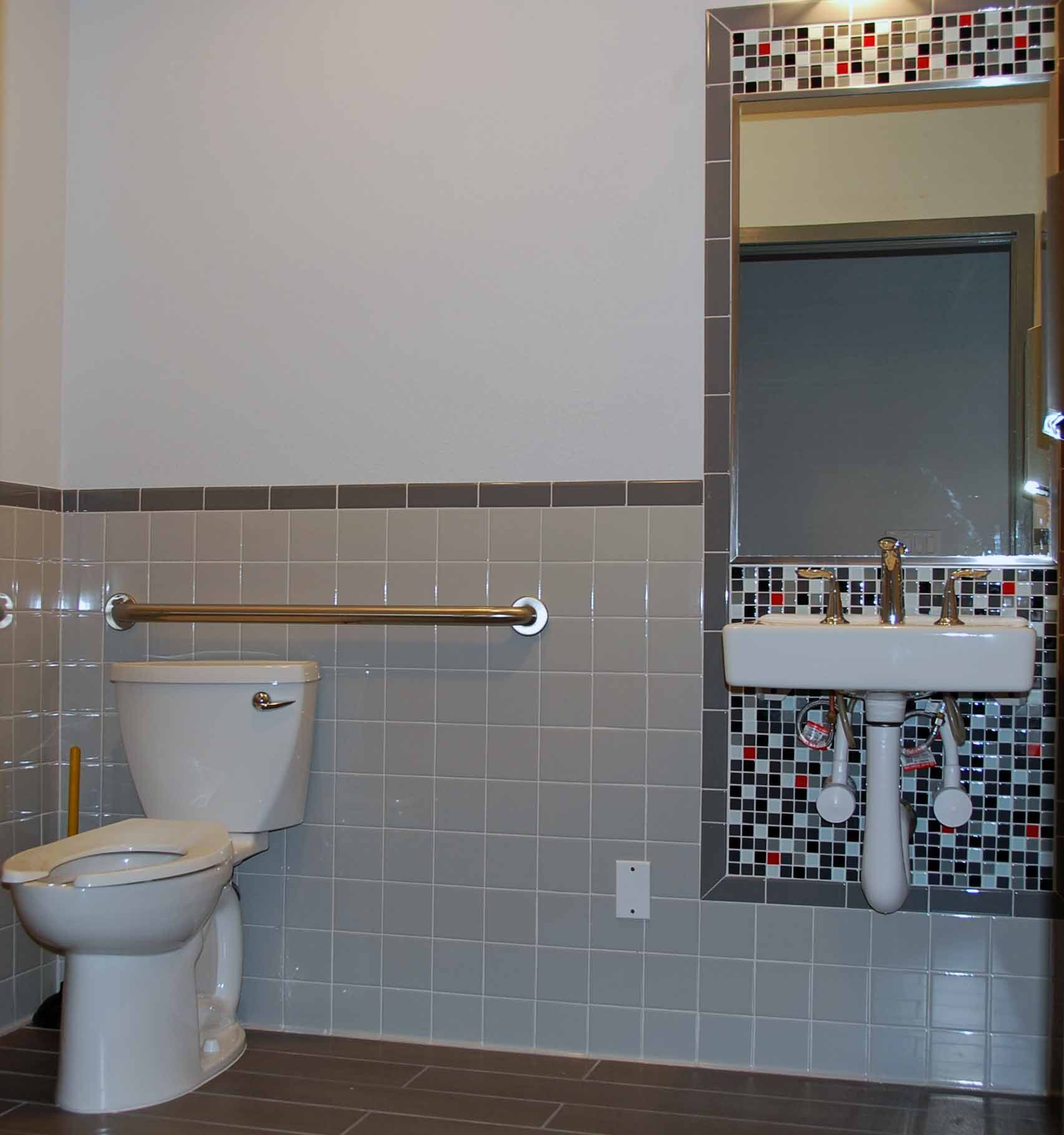 commercial bathroom tile cheap amp cheerful tile design for an ada bathroom 12406