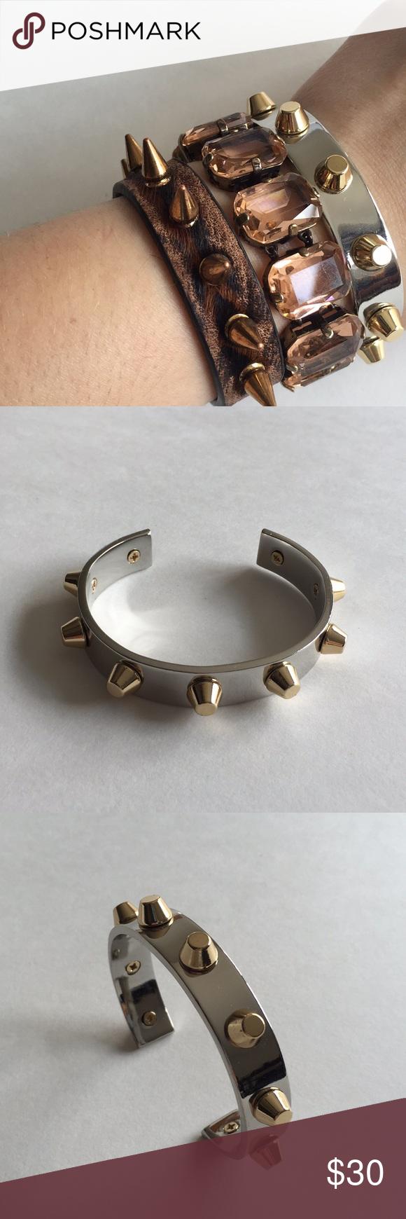 Nwot cwonder goldsilver studded cuff bracelet nwt gold studs