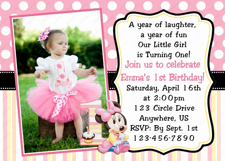First Birthday Invitation Template Free Luxury Minnie Mouse 1st Bi In 2020 First Birthday Invitation Cards Birthday Invitation Card Template First Birthday Invitations