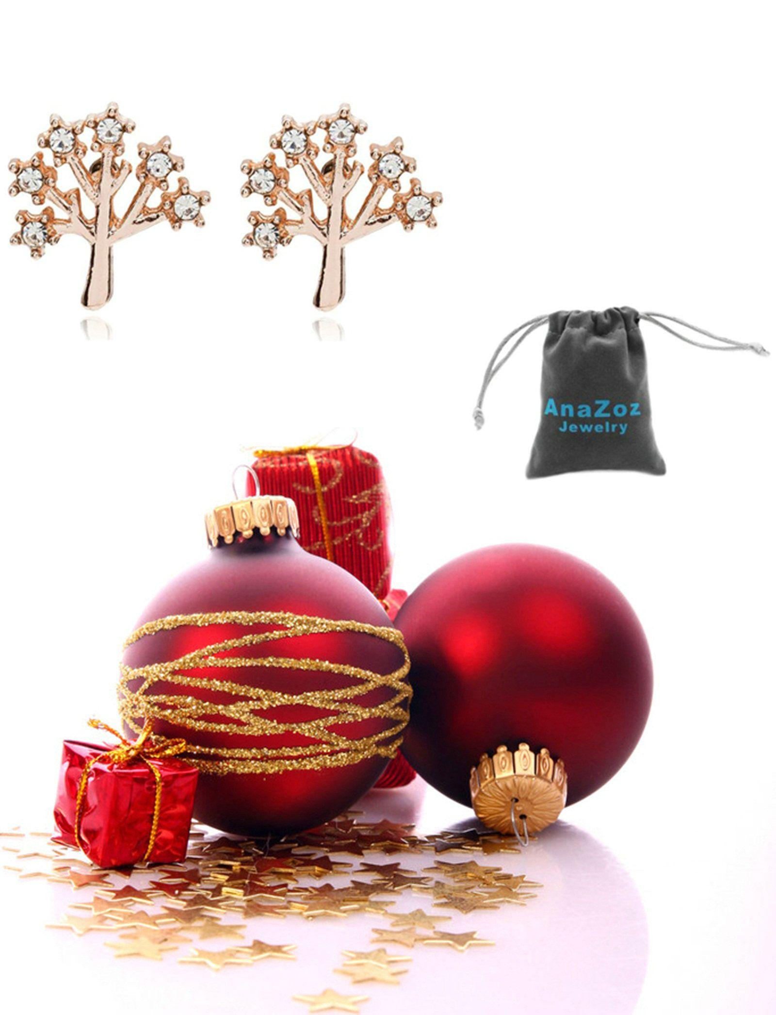 AnaZoz Joyería de Moda Pendientes de Mujer Chapado en Plata Pendientes Árbol de Navidad Oro Rosa Regalo Navidad Pendientes Para Mujer