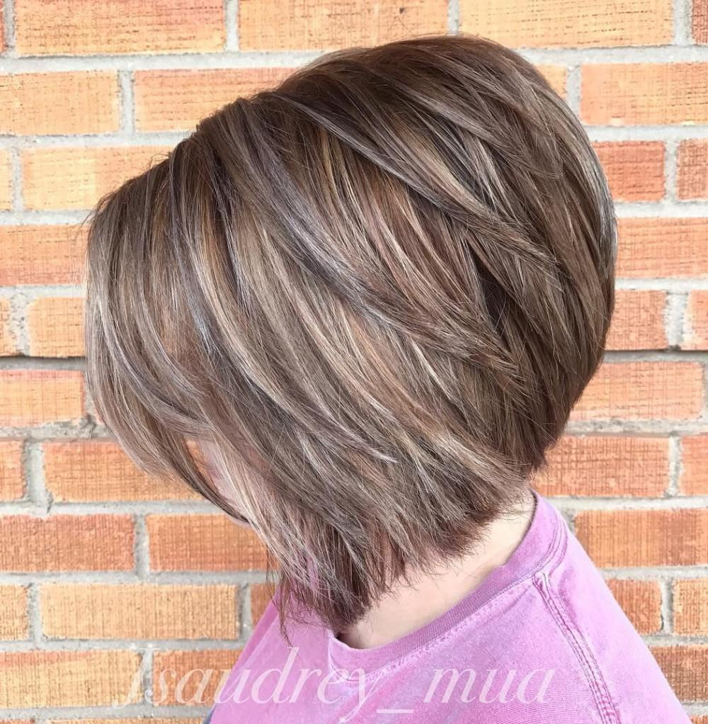 The full stack hottest stacked haircuts brown balayage ash