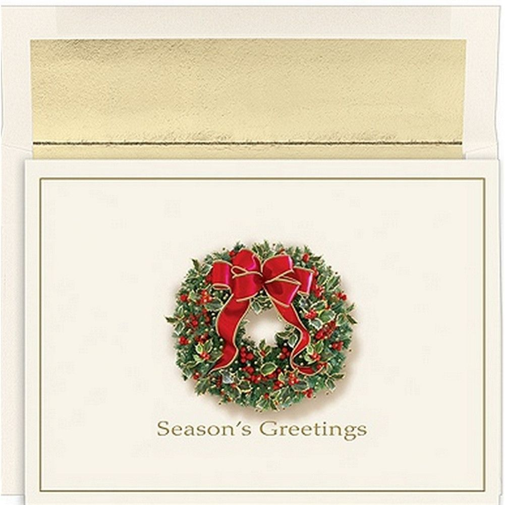 Traditional Wreath Christmas Cards with White Gold Foil Lined Envelopes