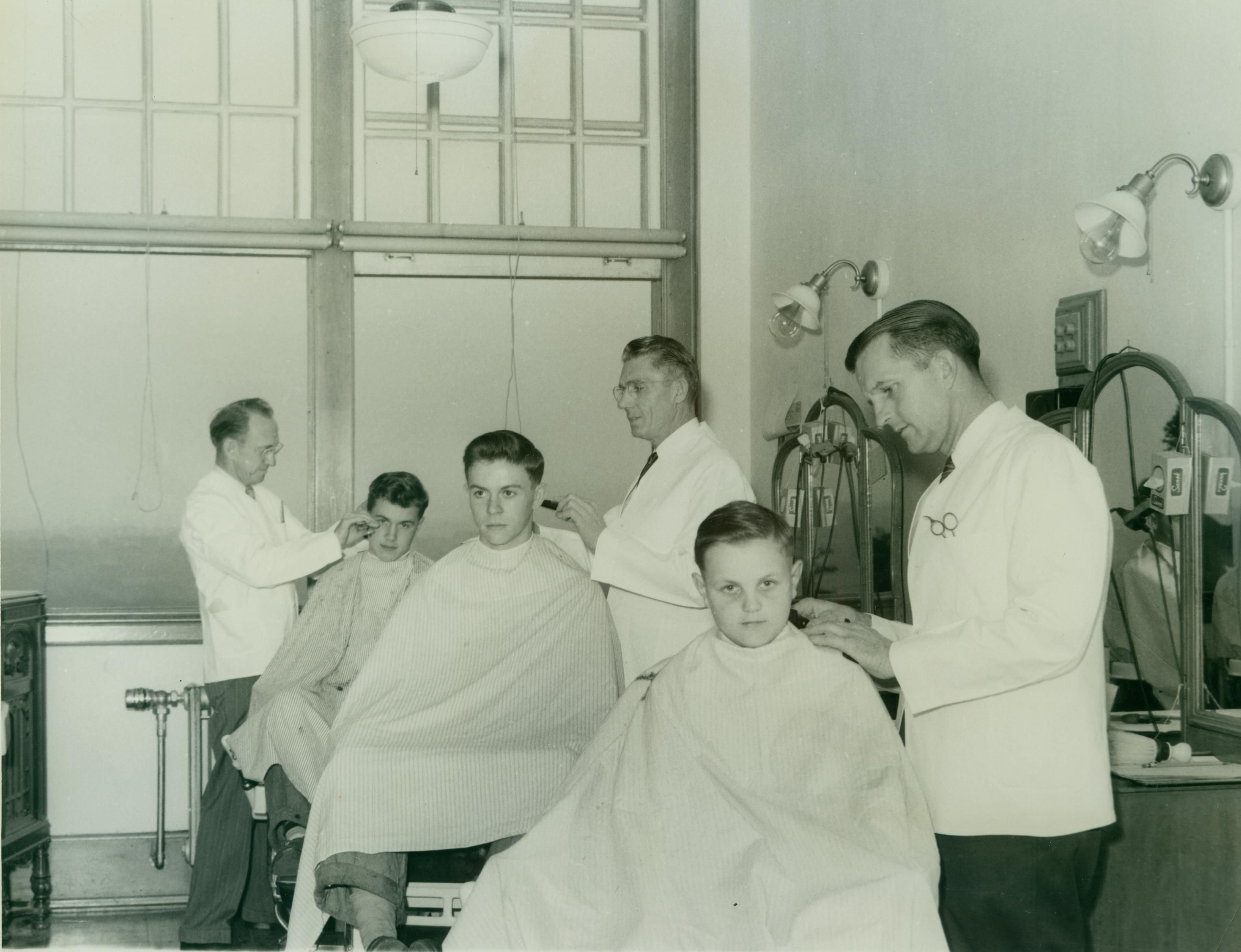 The Barber Shop Was A Busy Place At The Junior Senior High