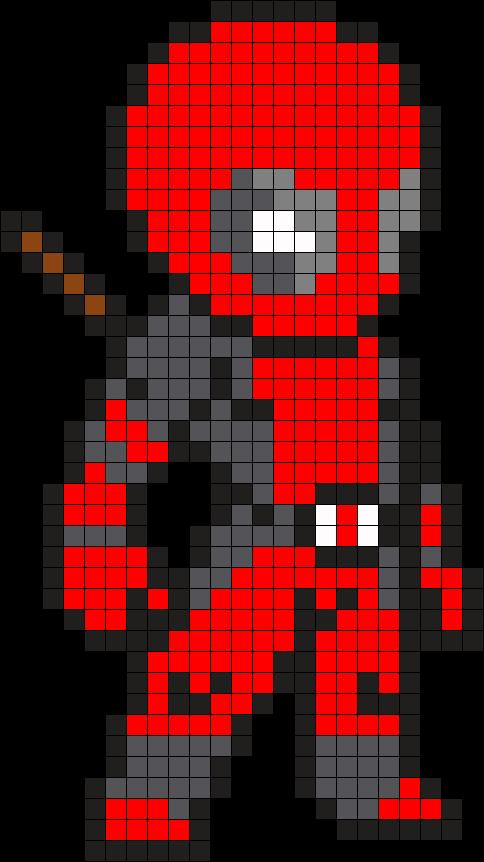 Deadpool Perler Bead Pattern / Bead Sprite Minecraft Pixel Art Grid Maker  Anime Ideas Easy Templates Hard Pokemon Template Maker Tutorial Disney  Kandi Cute ...