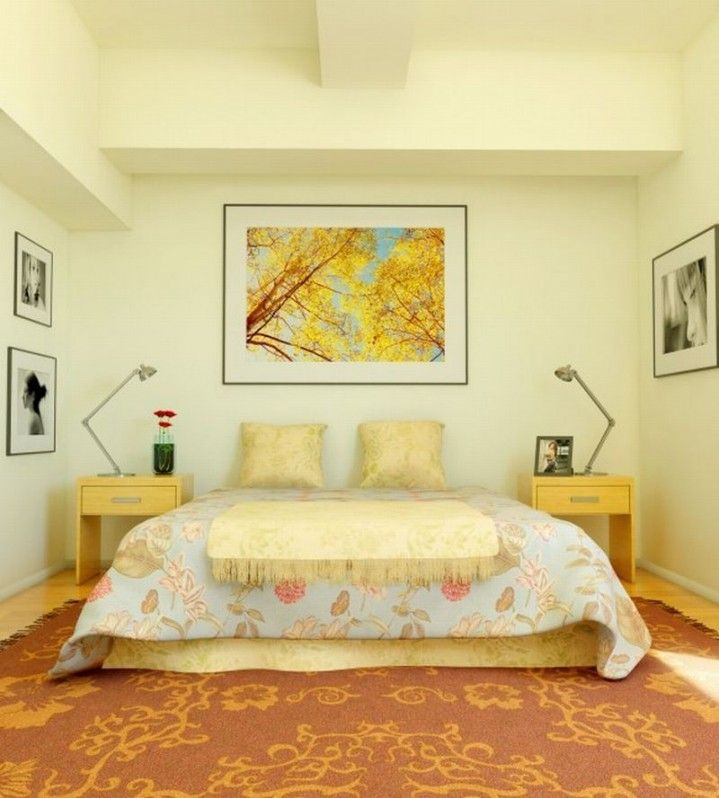 Retro Antique Yellow Bedroom Design Ideas With Painting On Wall ...