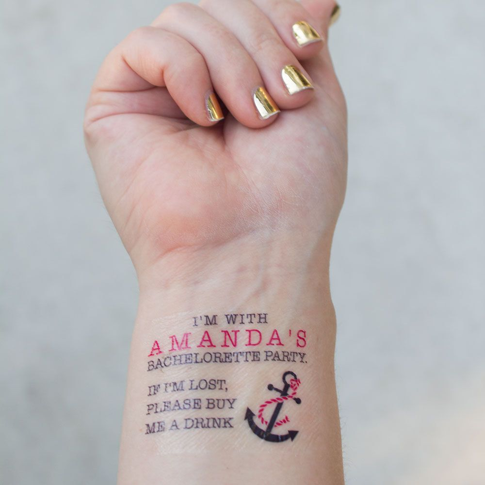 Nautical Themed Bachelorette Tattoos Bachelorette Party Temporary Tattoos If lost, buy me a drink anchorTattoo Pack of 15 by KristenMcGillivray on Etsy