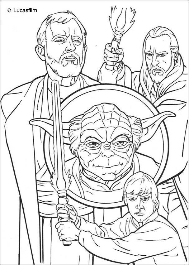 Coloriage De Star Wars Avec Yoda Et Des Jedis Un Coloriage Sur Les Anciens Star Wars Qui Plaira A Tous Les Fans Coloriage Star Wars Dessin Star Wars Coloriage