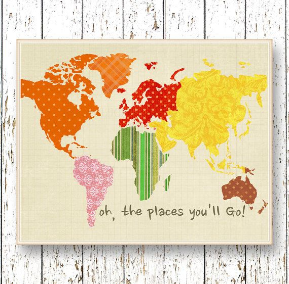 Oh, the Places you\'ll Go! Dr Seuss World map art Montessori ...