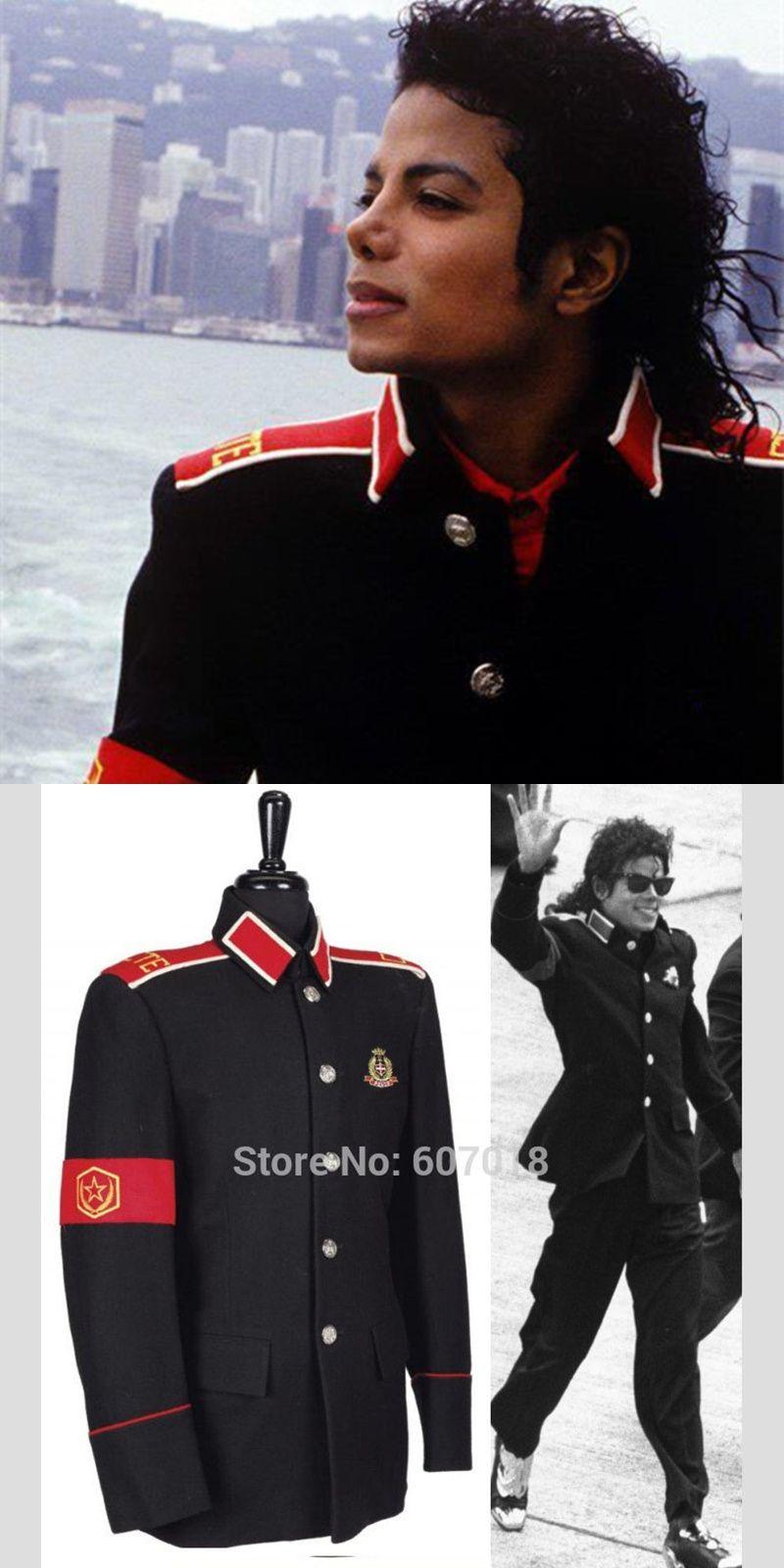 d89b62bbdd1 Rare Classic MJ MICHAEL JACKSON Costume Black Informal Military CTE Woolen  Clothing Jacket Outwear