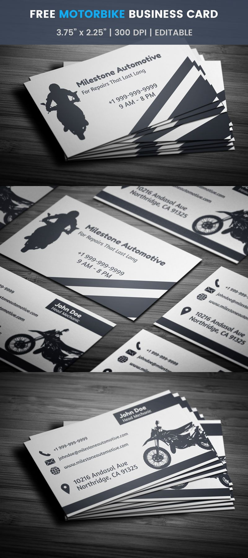 Free Motorcycle Business Card Template Full Preview Free