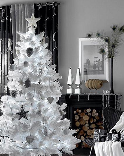 Decoraci n navide a en blanco y plateado rboles de - Decoracion para arboles navidenos ...