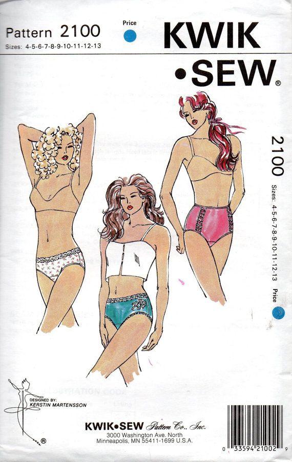 Kwik Sew 2100 Misses Lingerie Panties Pattern Briefs Bikini Hipster ...