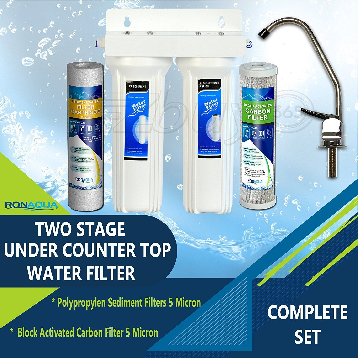 Premium Under Sink Direct Connect Two Stage Water Filtration System ...