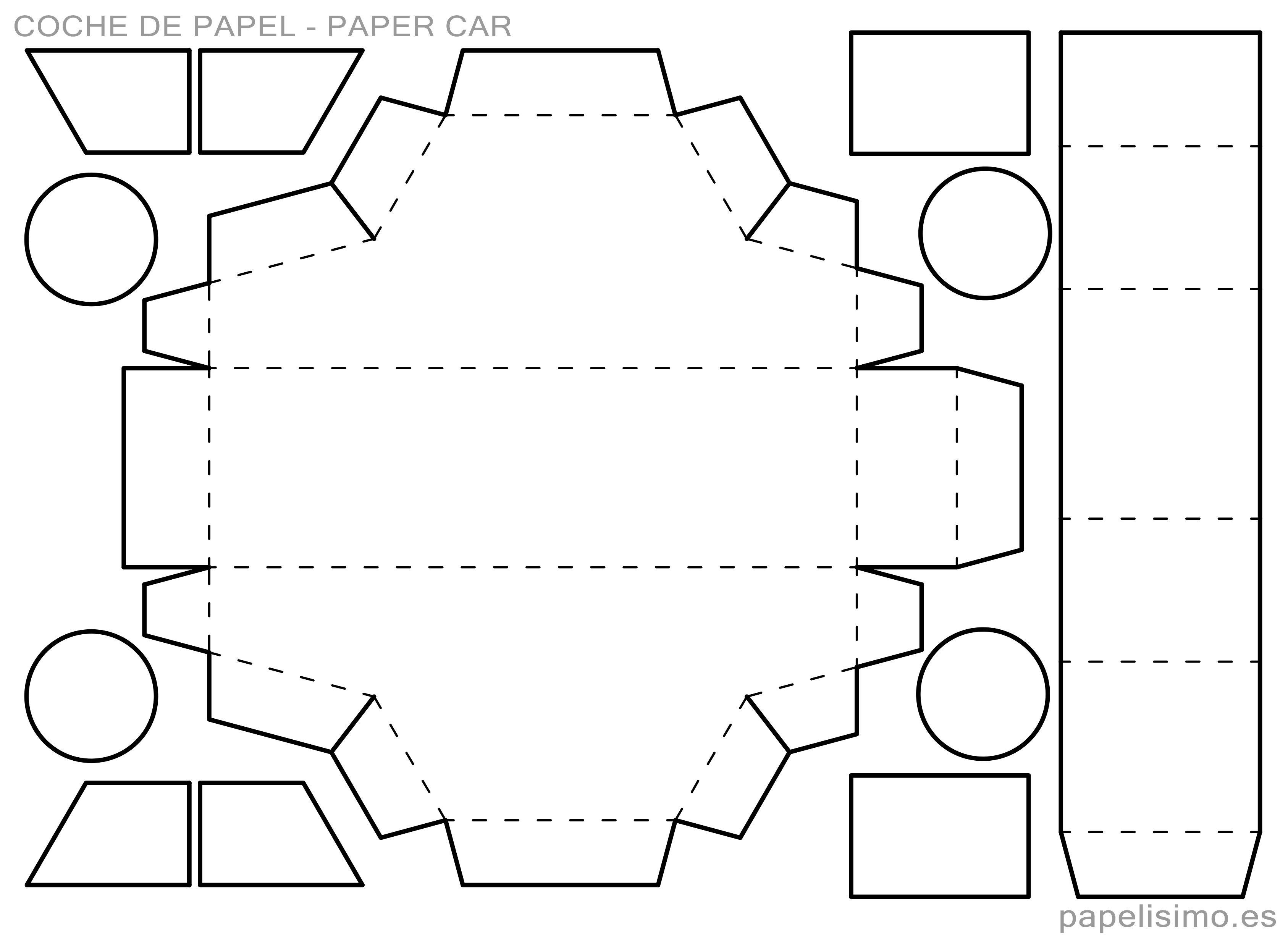 Plantilla Caja Coche De Papel Paper Car Printable Sobres